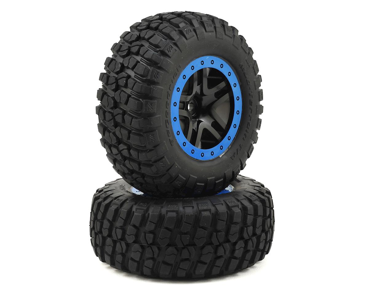 BFGoodrich KM2 Tire w/Split-Spoke Rear Wheel (2) (Black/Blue) by Traxxas