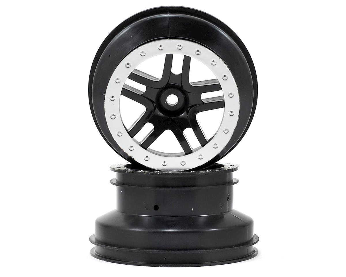 Traxxas Dual Profile Split-Spoke SCT Wheels (Black/Satin Chrome-2) (Slash Rear)