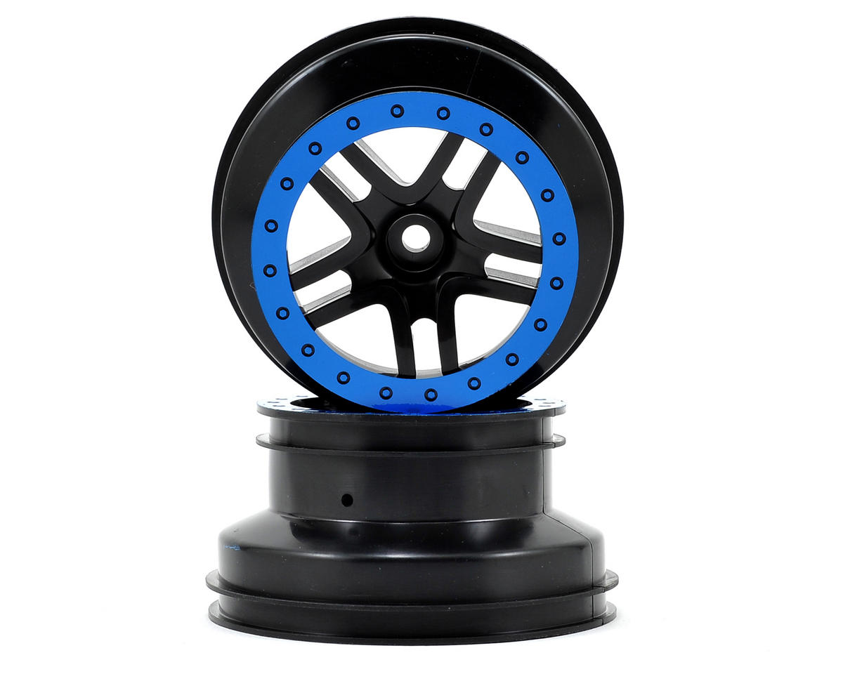 Traxxas Dual Profile Split-Spoke SCT Wheels (Black/Blue) (2) (Slash Front)