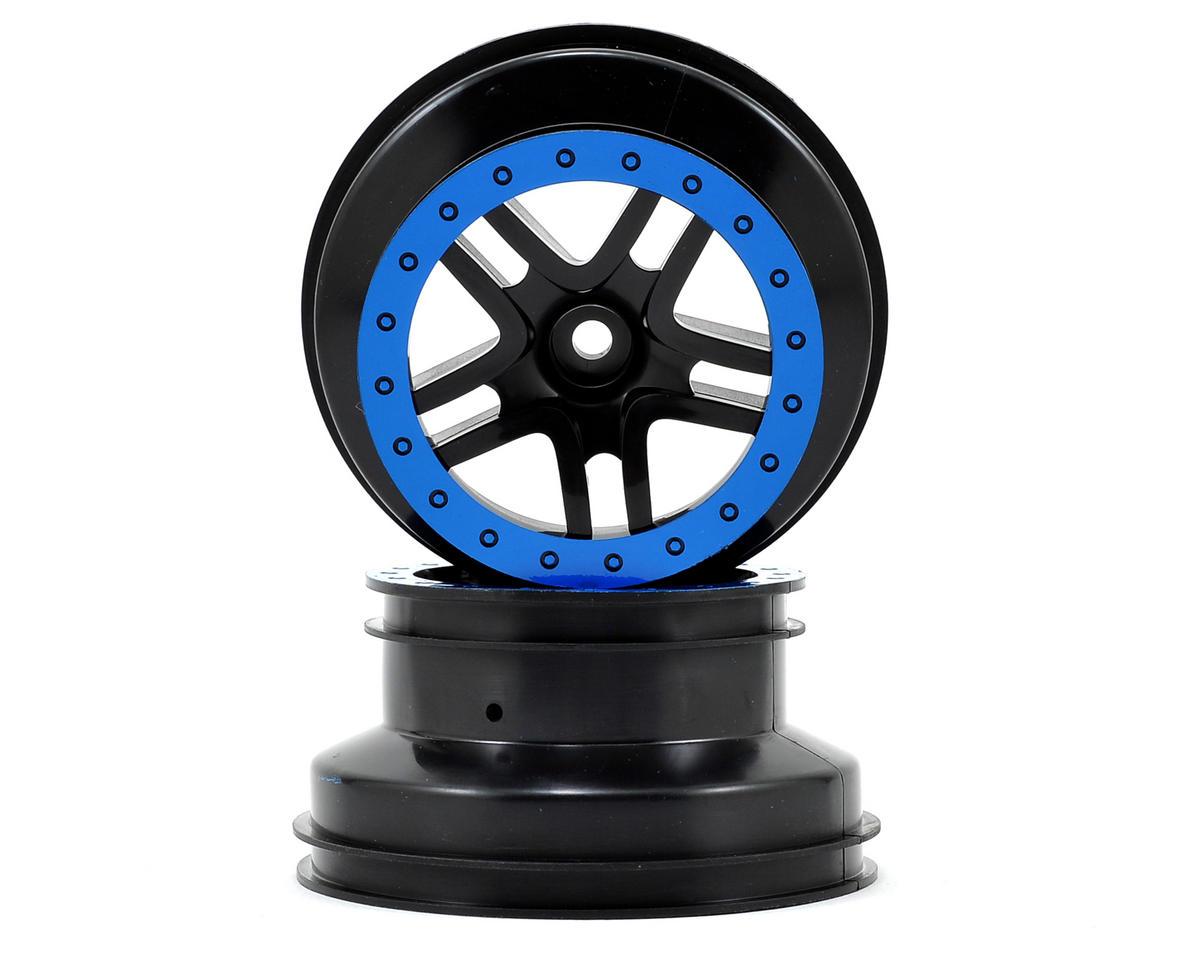 Dual Profile Split-Spoke SCT Wheels (Black/Blue) (2) (Slash Front) by Traxxas