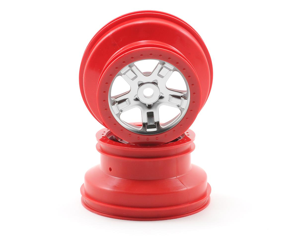 Traxxas 14mm Hex SCT Beadlock Wheel (Satin Chrome/Red) (2) | relatedproducts