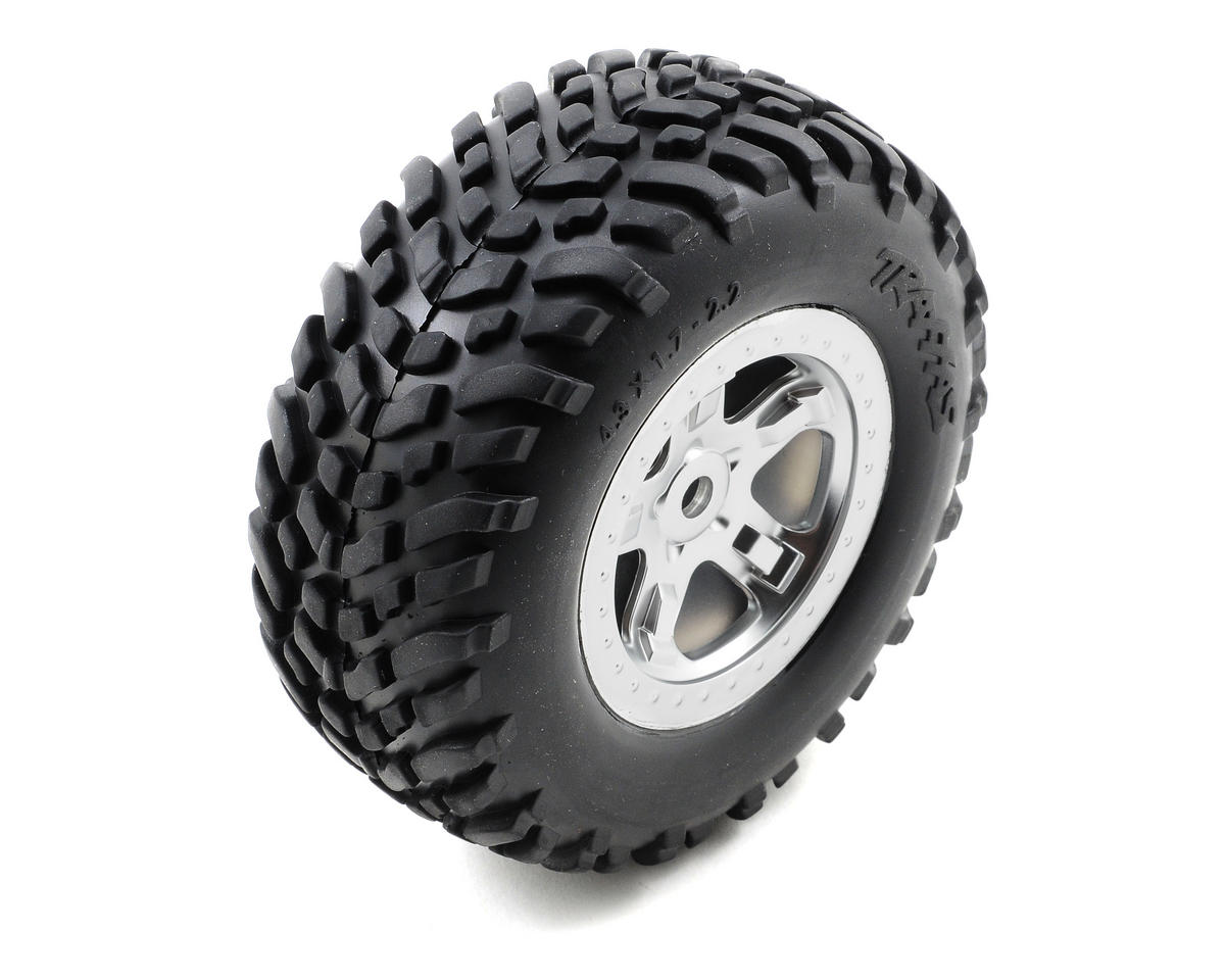 Traxxas SCT Pre-Mounted Tires & Wheels w/Satin Chrome Beadlock (Black) (2)