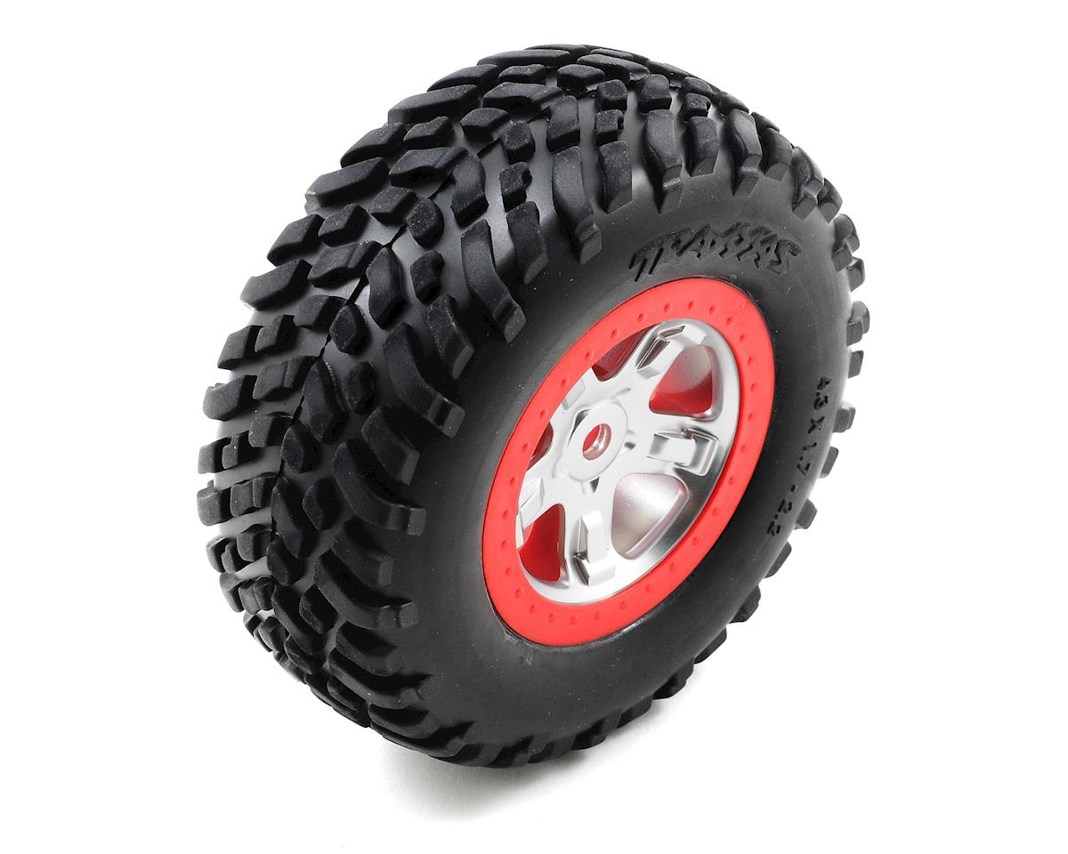 Satin Chrome Beadlock Style Wheels & Tires (Red) (2) by Traxxas