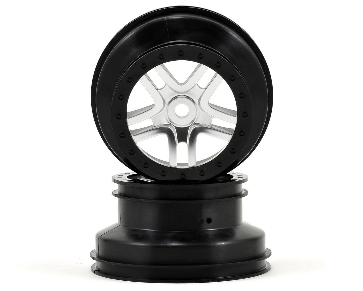 Dual Profile Split-Spoke SCT Wheels (Satin Chrome/Black-2) (Slayer Pro) by Traxxas