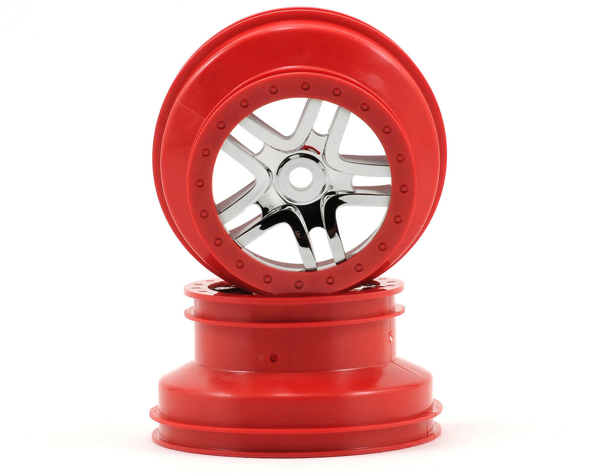 Traxxas Slayer Dual Profile Split-Spoke SCT Wheels (Chrome/Red-2) (Slayer Pro)