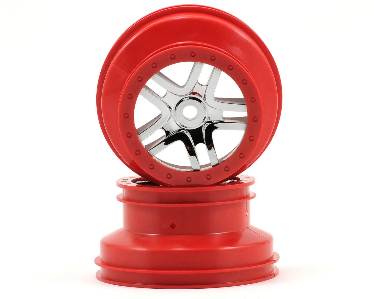 Dual Profile Split-Spoke SCT Wheels (Chrome/Red-2) (Slayer Pro) by Traxxas