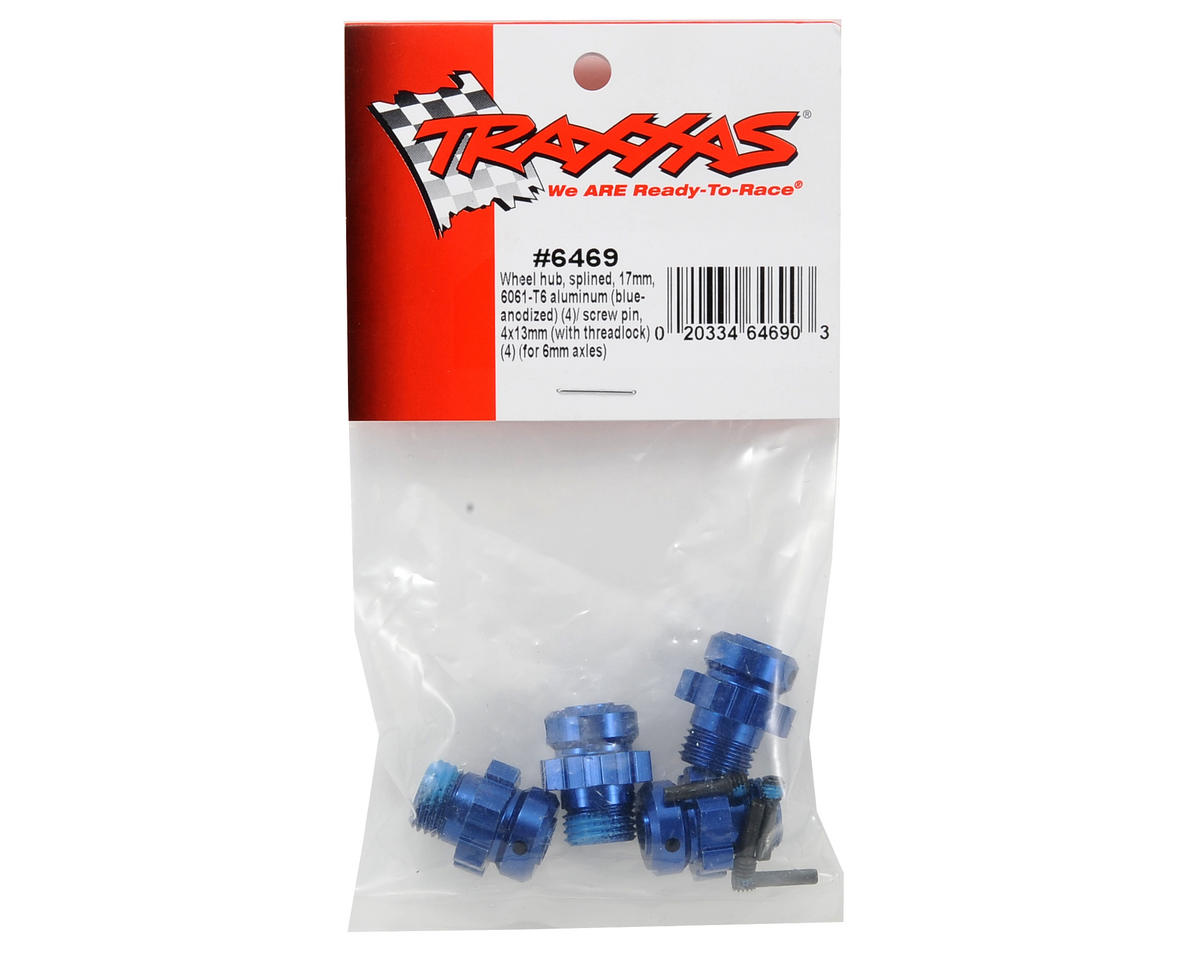 Traxxas 17mm Aluminum Splined Wheel Hub Set (Blue) (4)