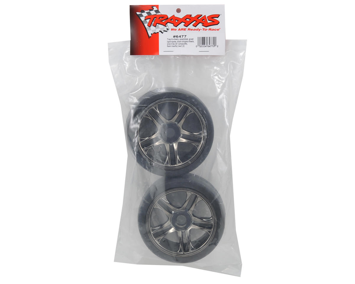 Traxxas Rear Tire & Wheel Set (2) (Black Chrome) (S1)