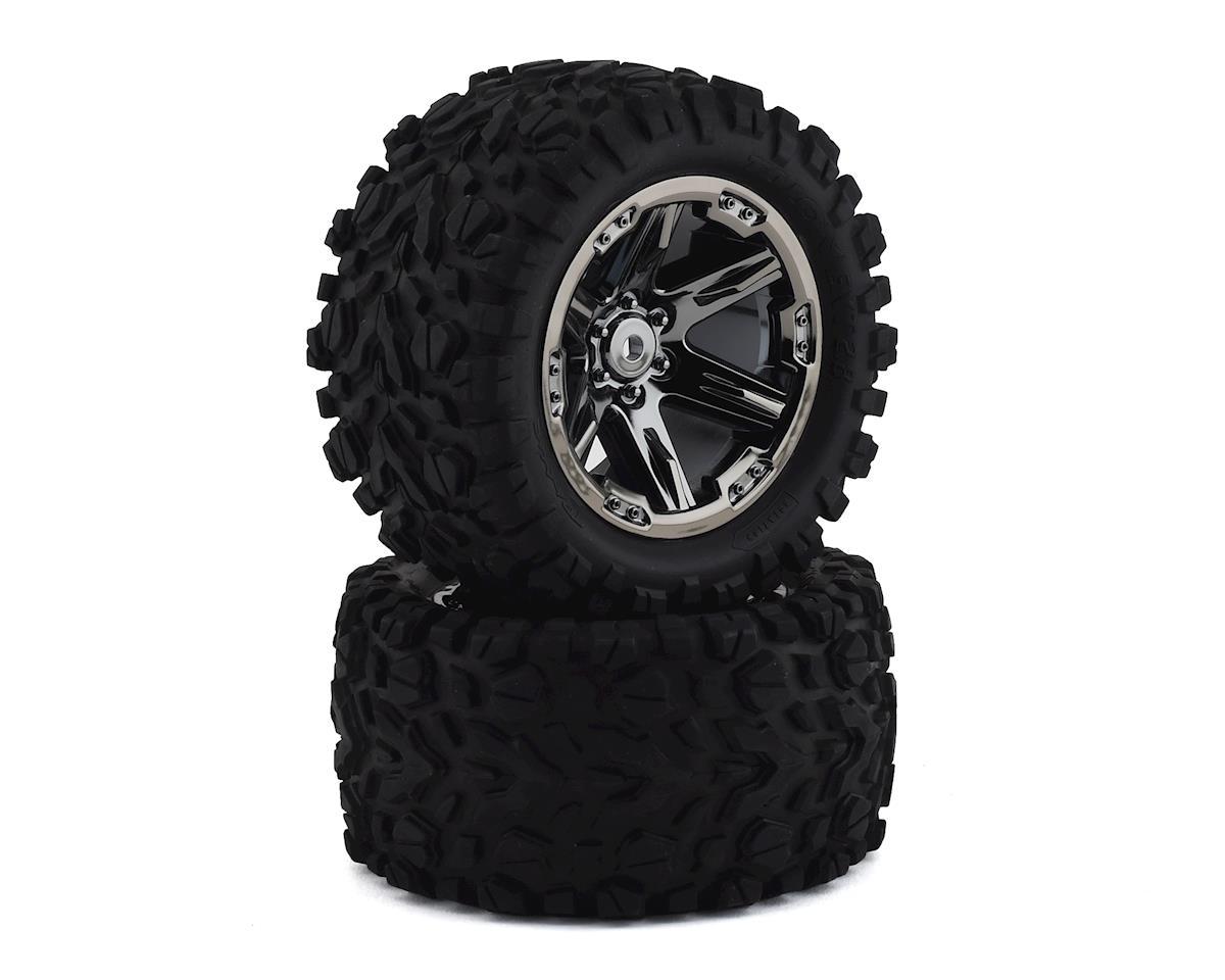 "Traxxas Rustler Talon EXT 2.8"" Pre-Mounted Tires w/RXT Wheels (2) (Black Chrome)"