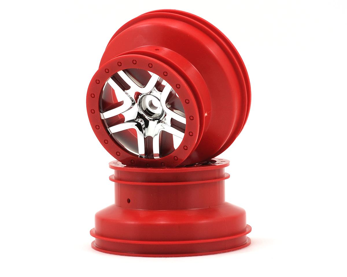 Traxxas 12mm Hex Dual Profile Split-Spoke SCT Wheels (Chrome/Red) (2) (Slash Rear)