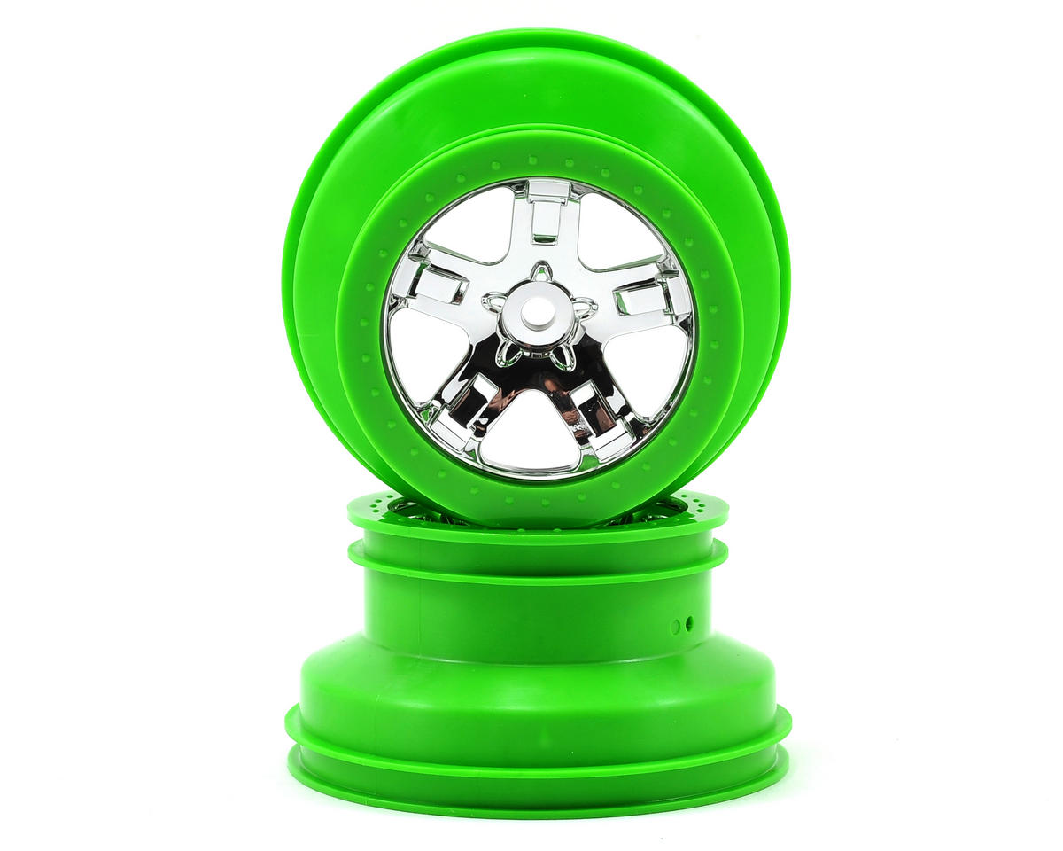 Traxxas Dual Profile Short Course Wheels (Chrome/Green) (2) (Slash Rear)