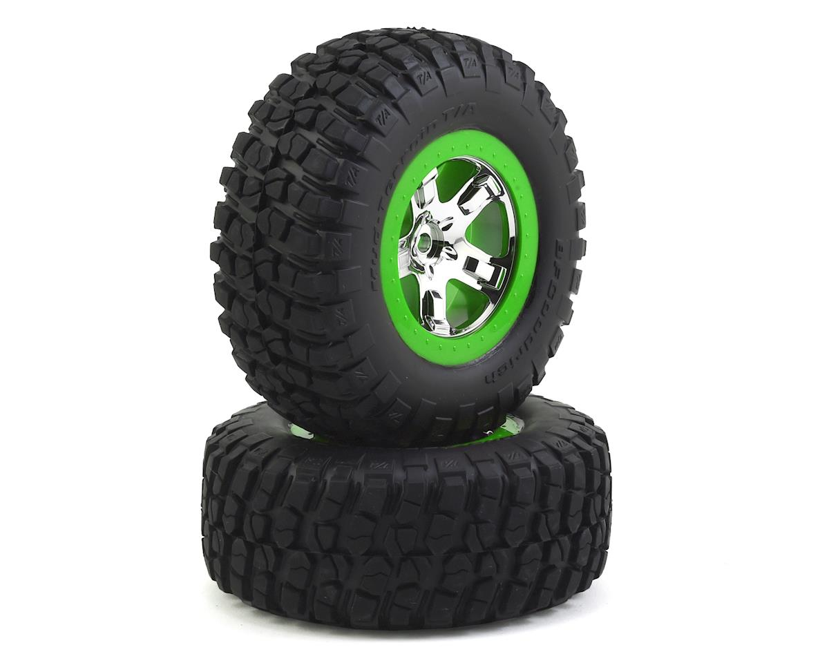 BFGoodrich KM2 Tire w/SCT Rear Wheel (2) (Chrome/Green) by Traxxas