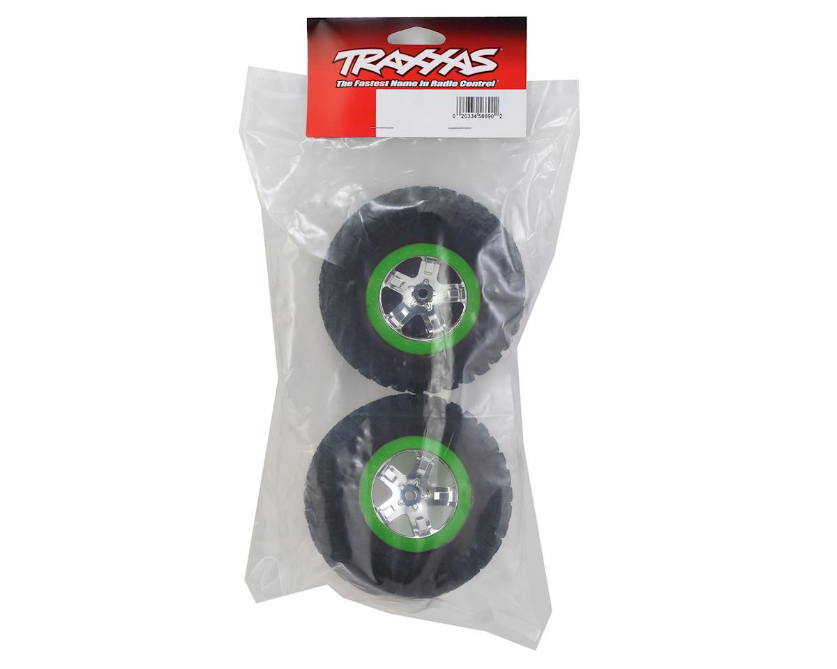 Traxxas BFGoodrich KM2 Tire w/SCT Rear Wheel (2) (Chrome/Green) (Standard)
