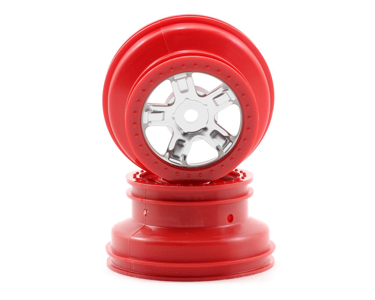 1/16 SCT Beadlock Wheel (Satin Chrome/Red) (2) by Traxxas