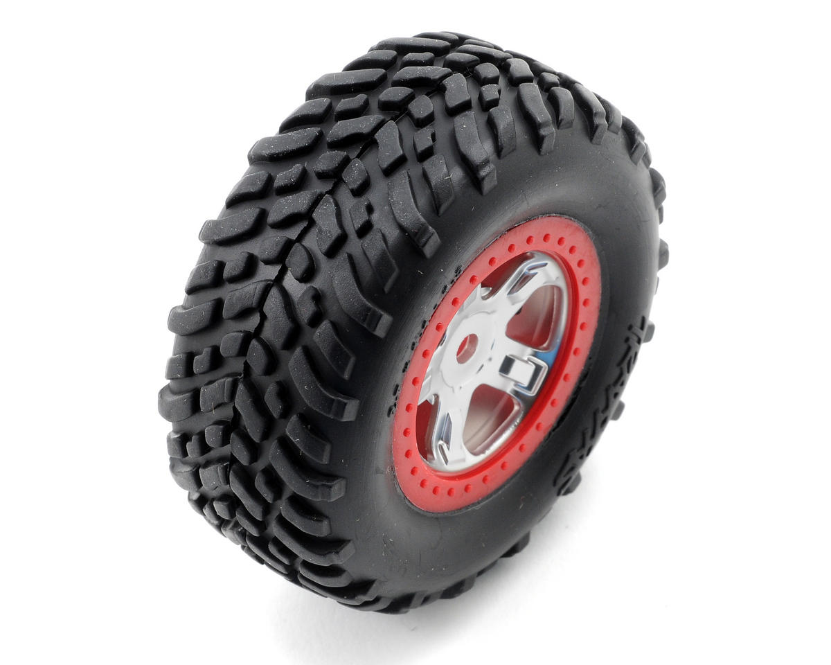 SCT Pre-Mounted Tires & Wheels w/Red Beadlock (Satin Chrome) (2) by Traxxas 1/16 Slash