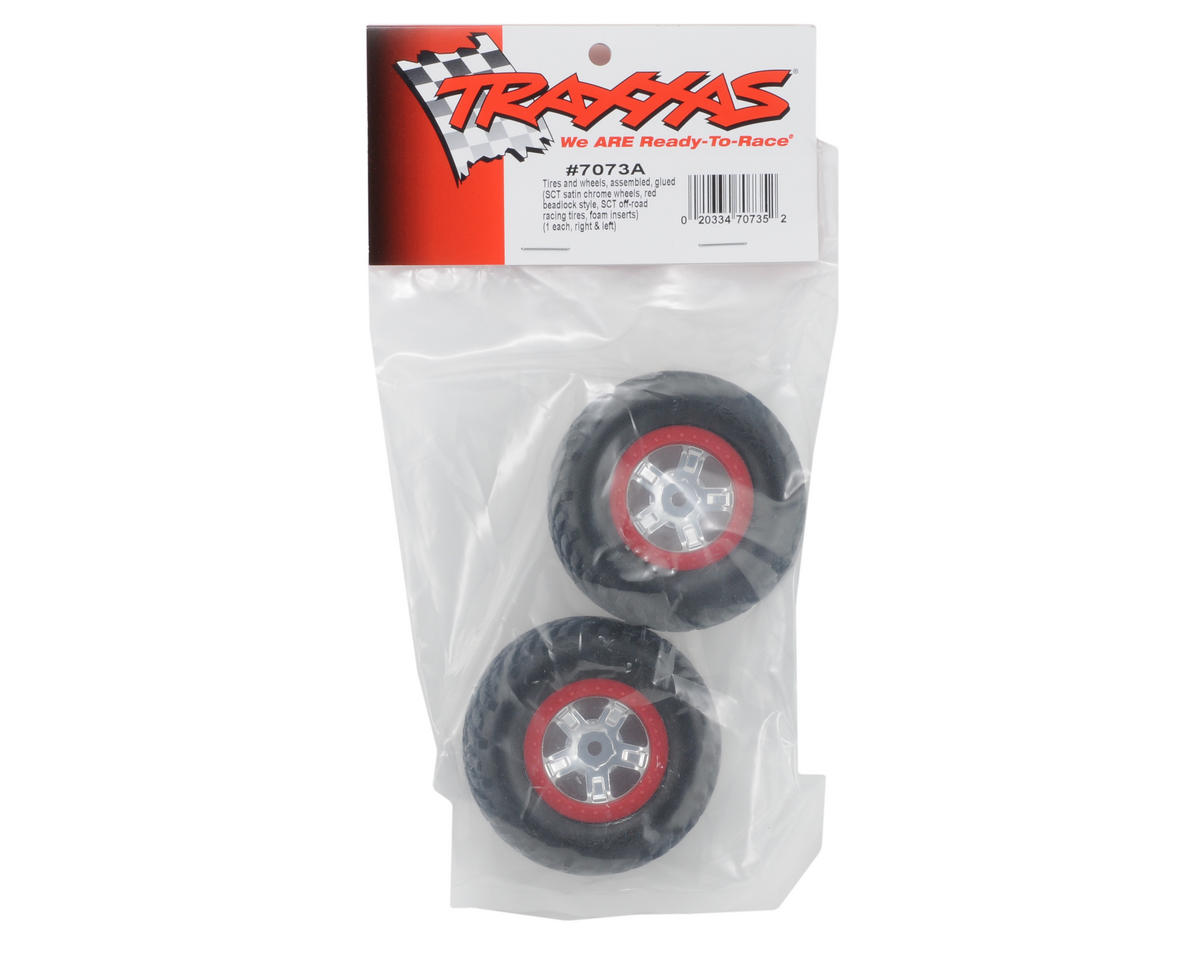 Traxxas SCT Pre-Mounted Tires & Wheels w/Red Beadlock (Satin Chrome) (2)