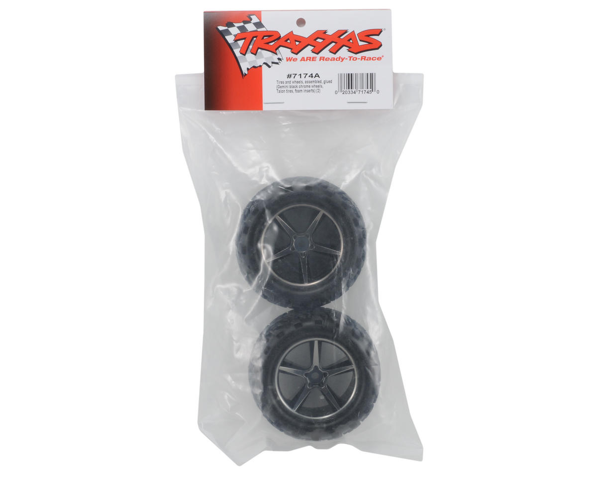 Traxxas Pre-Mounted Talon Tires w/Gemini Wheels (Black Chrome) (2)