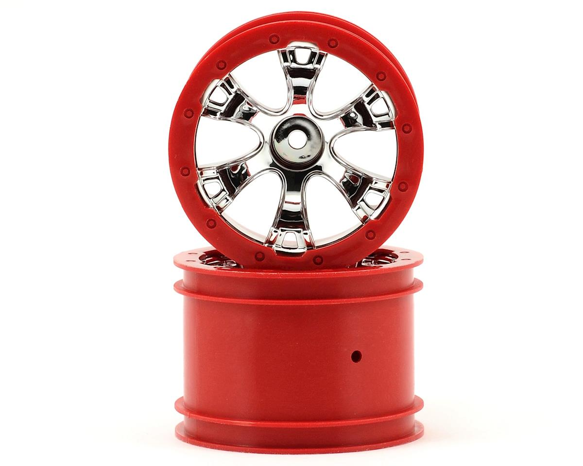 "Traxxas 1/16 Summit 2.2"" Geode Beadlock Style Wheels w/12mm Hex (2) (Chrome/Red)"