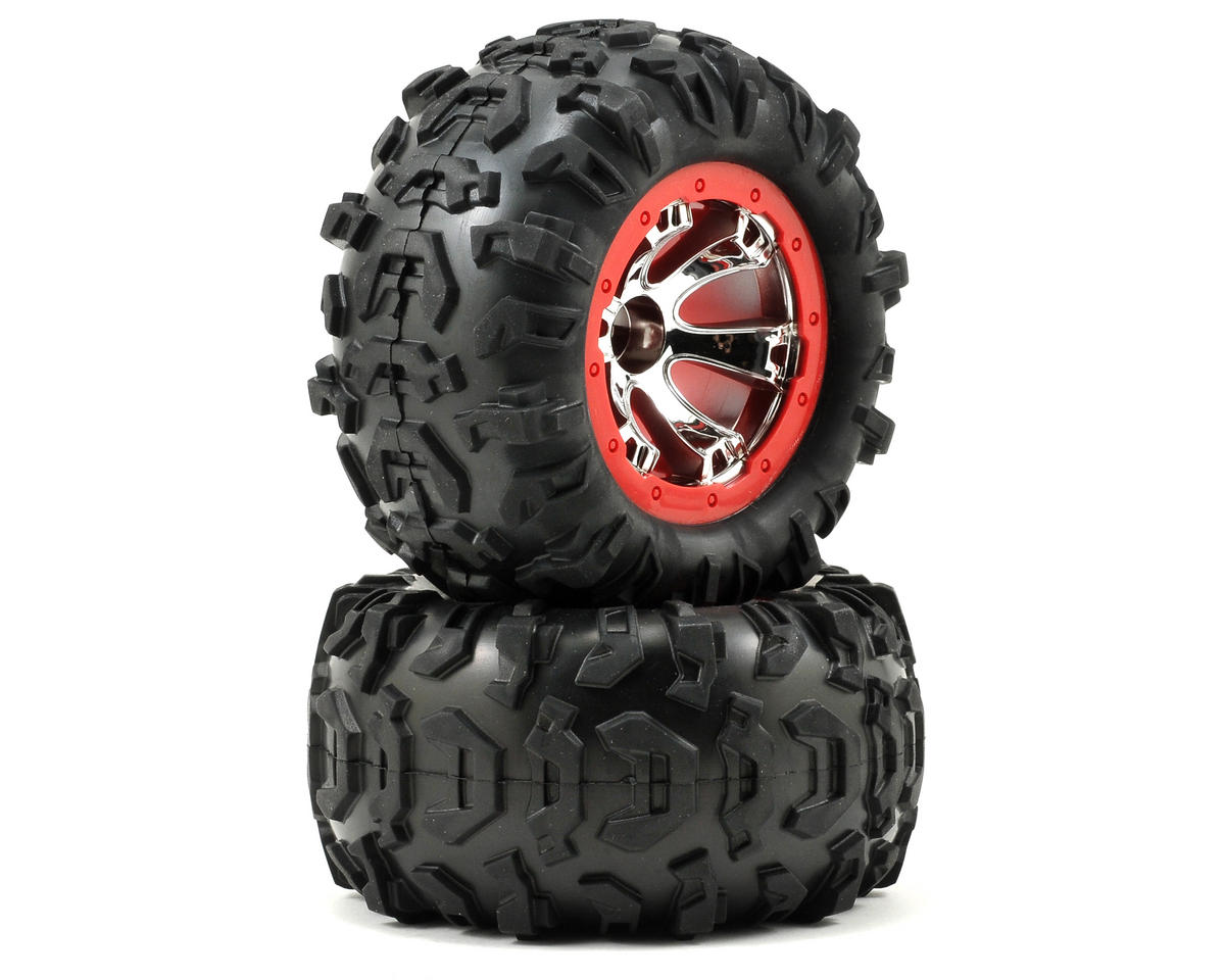 Pre-Mounted Canyon AT Tires (Geode Beadlock) (2) (Chrome/Red) by Traxxas