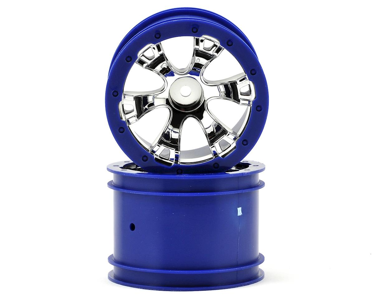 "2.2"" Geode Beadlock Style Wheels w/12mm Hex (2) (Chrome/Blue) by Traxxas"