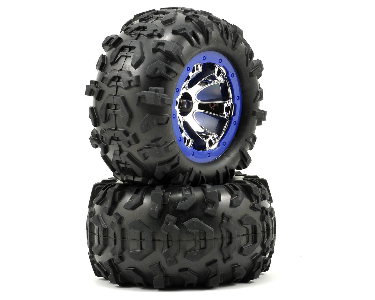Traxxas Pre-Mounted Canyon AT Tires (Geode Beadlock) (2) (Chrome/Blue)
