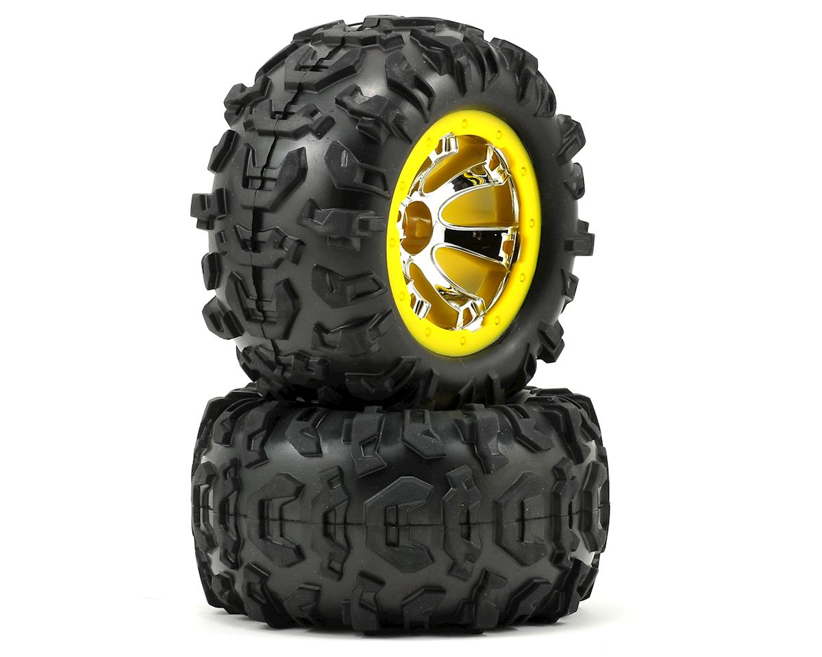 Traxxas Pre-Mounted Canyon AT Tires w/Geode Beadlock Style Wheels (2) (Chrome/Yellow)