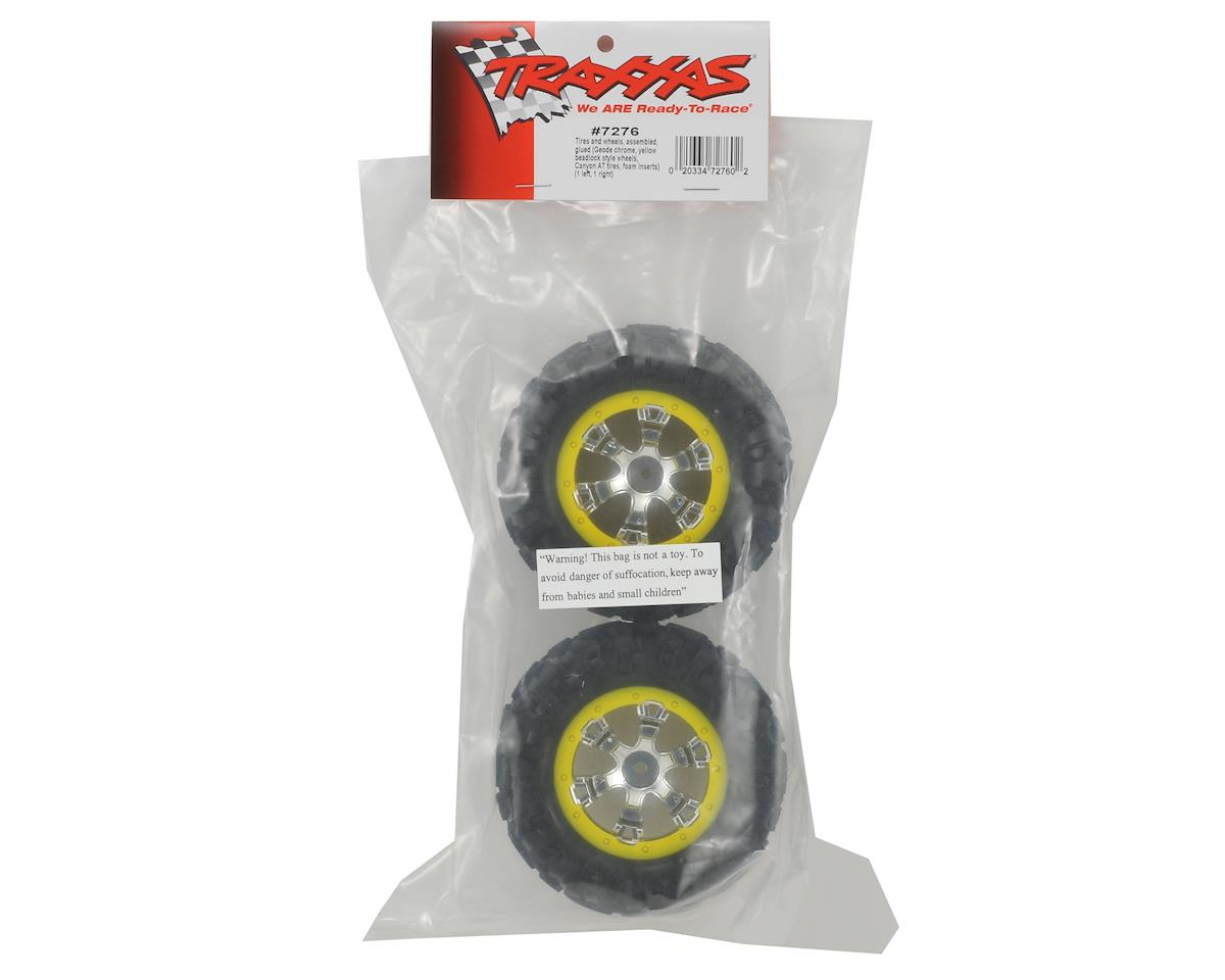 Pre-Mounted Canyon AT Tires w/Geode Beadlock Style Wheels (2) (Chrome/Yellow) by Traxxas