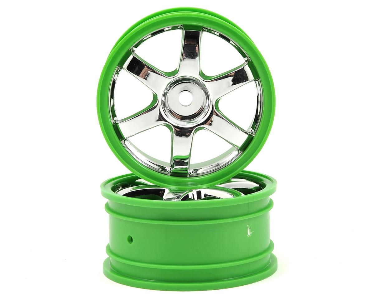 Volk Racing TE37 Wheel Set (2) (Chrome/Green) by Traxxas