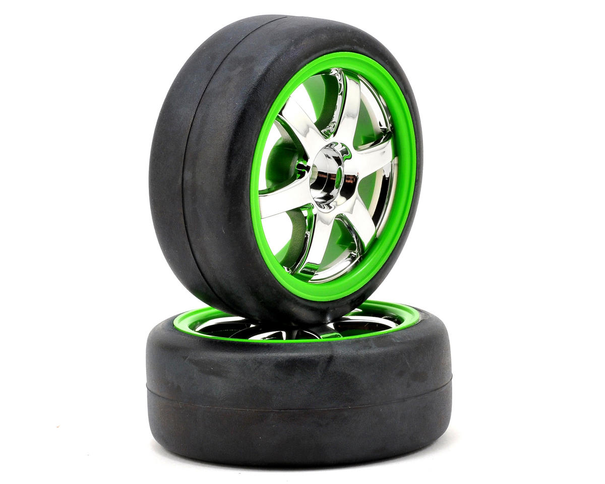 Traxxas 12mm Hex Pre-Mounted 1/16 Slick Tires (2) (Chrome/Green)
