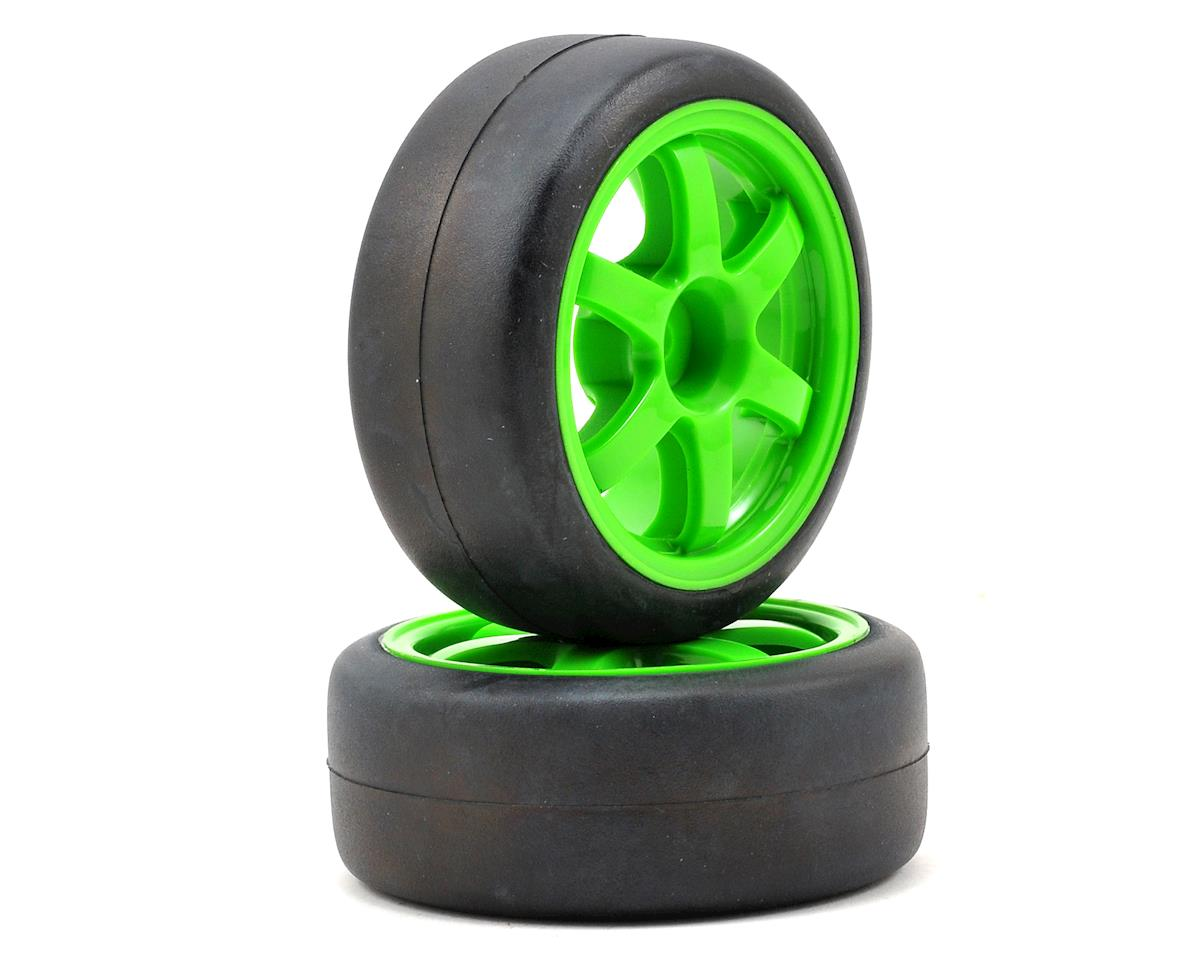 Pre-Mounted 1/16 Gymkhana Slick Tires w/Volk TE37 Wheels (2) (Green) by Traxxas