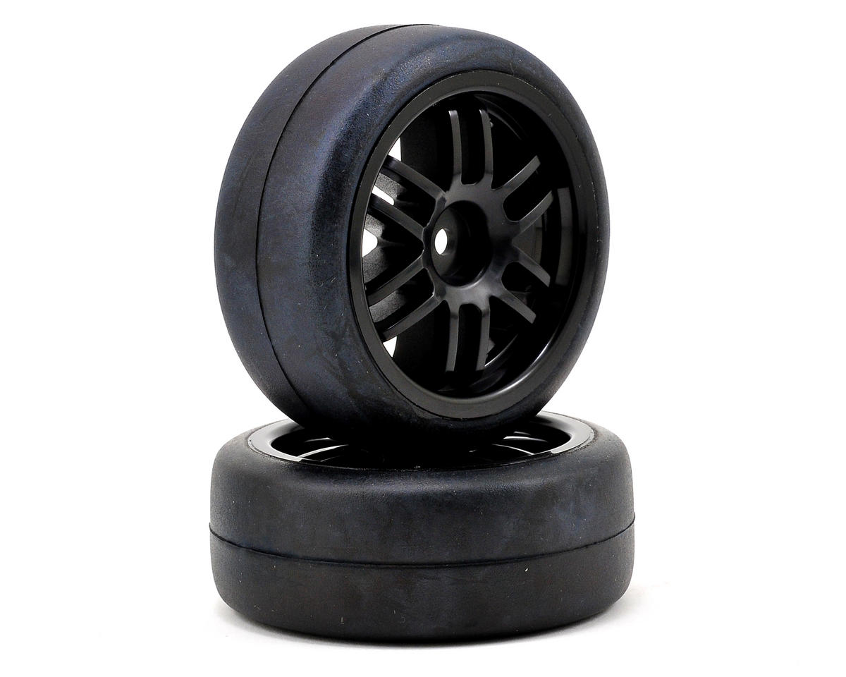 12mm Hex Pre-Mounted 1/16 Gymkhana Slick Tires (2) (Black) by Traxxas