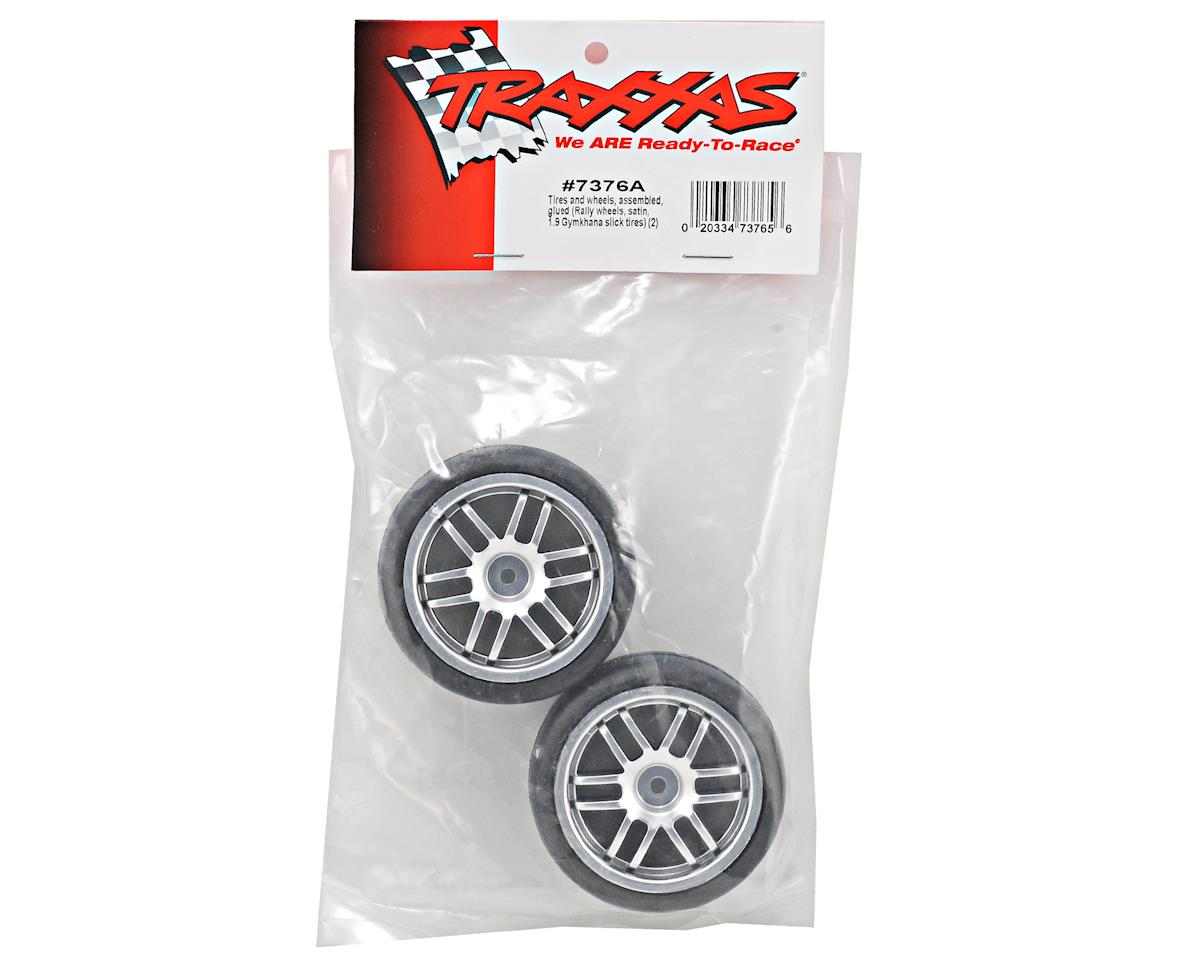 Traxxas Pre-Mounted 1/16 Gymkhana Slick Tires w/Rally Wheels (2) (Satin Chrome)