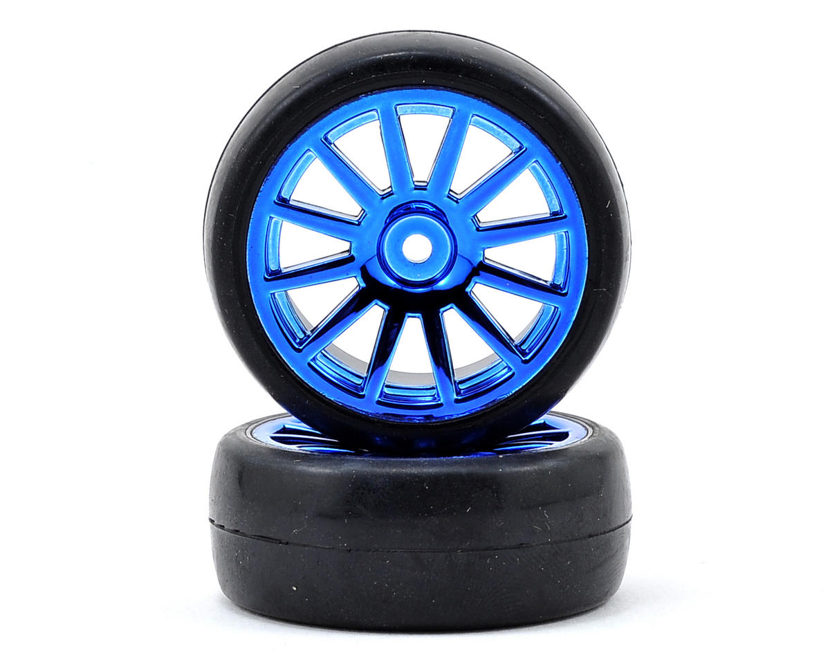 LaTrax 1/18 Rally Pre-Mounted Slick Tires & 12-Spoke Wheels (Blue Chrome) (2) by Traxxas