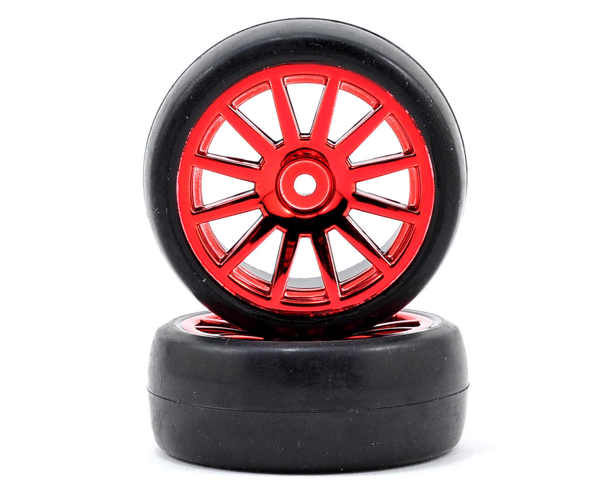 LaTrax 1/18 Rally Pre-Mounted Slick Tires & 12-Spoke Wheels (Red Chrome) (2) by Traxxas