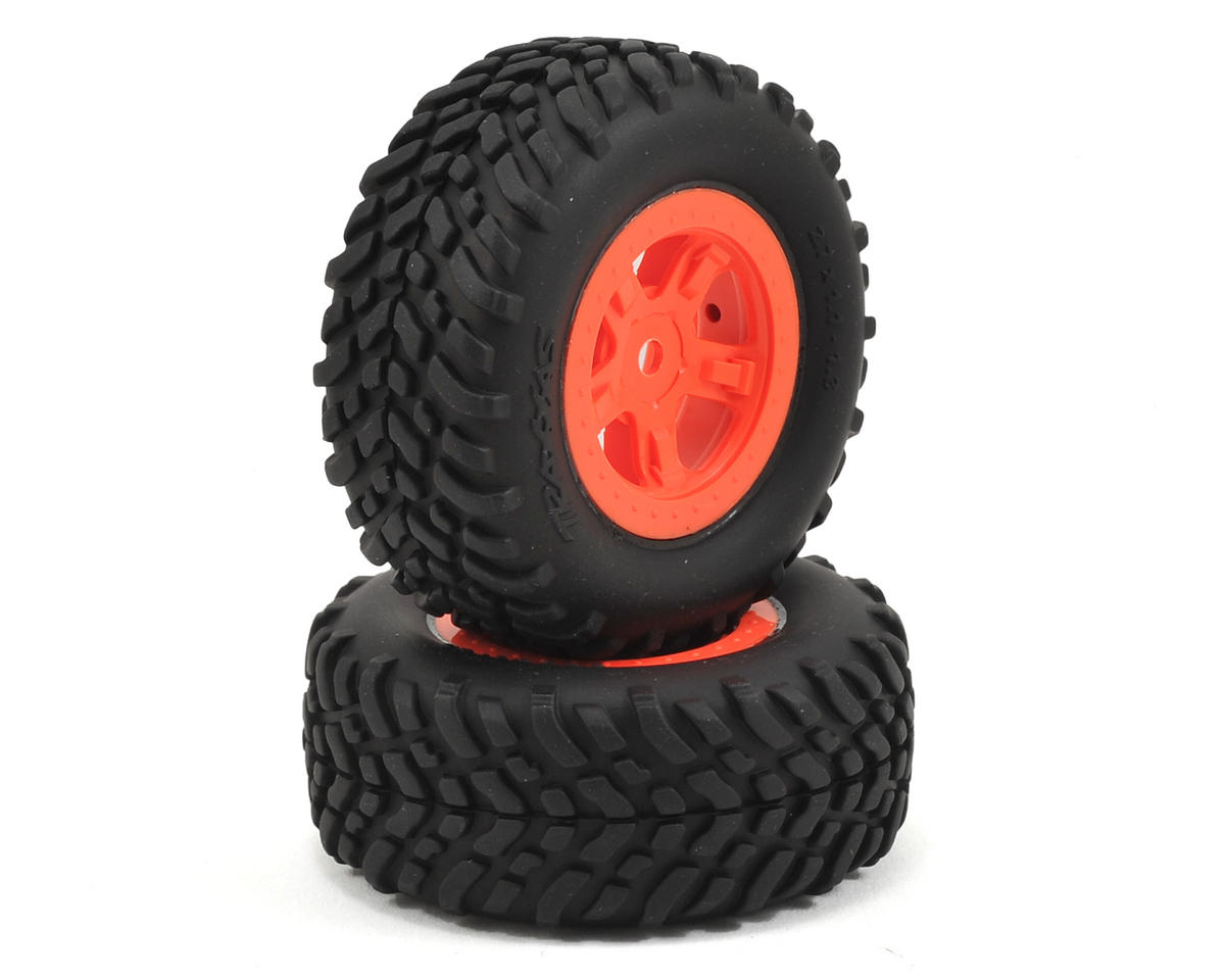 SST 1/18 SCT Pre-Mounted Tires w/SCT Wheels (2) (Orange) by Traxxas