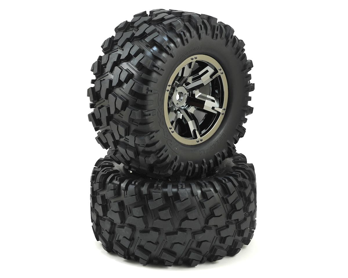 X-Maxx Pre-Mounted Tires & Wheels (2) (Black Chrome) by Traxxas