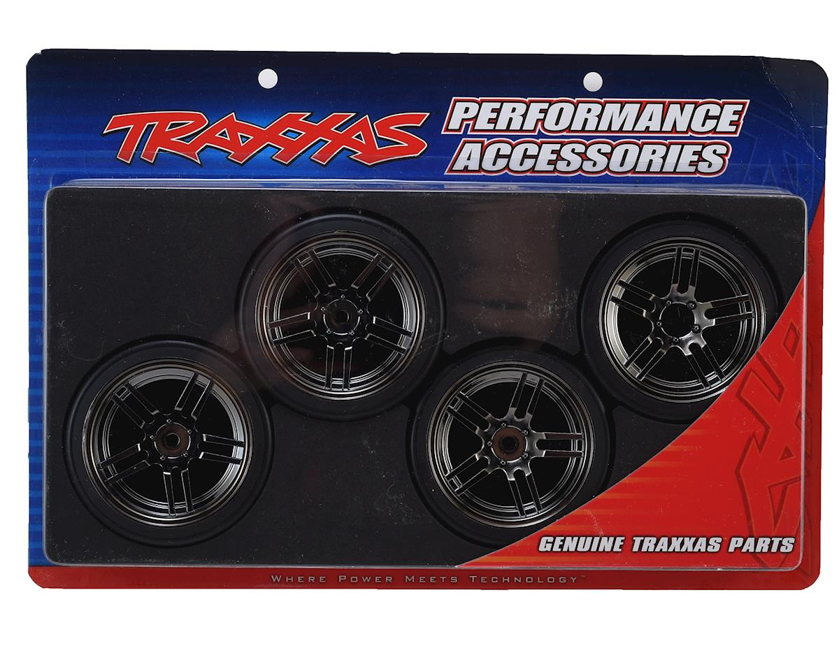 "Traxxas 4-Tec 2.0 1.9"" Front & Rear Pre-Mounted Drift Tires (Black Chrome)"
