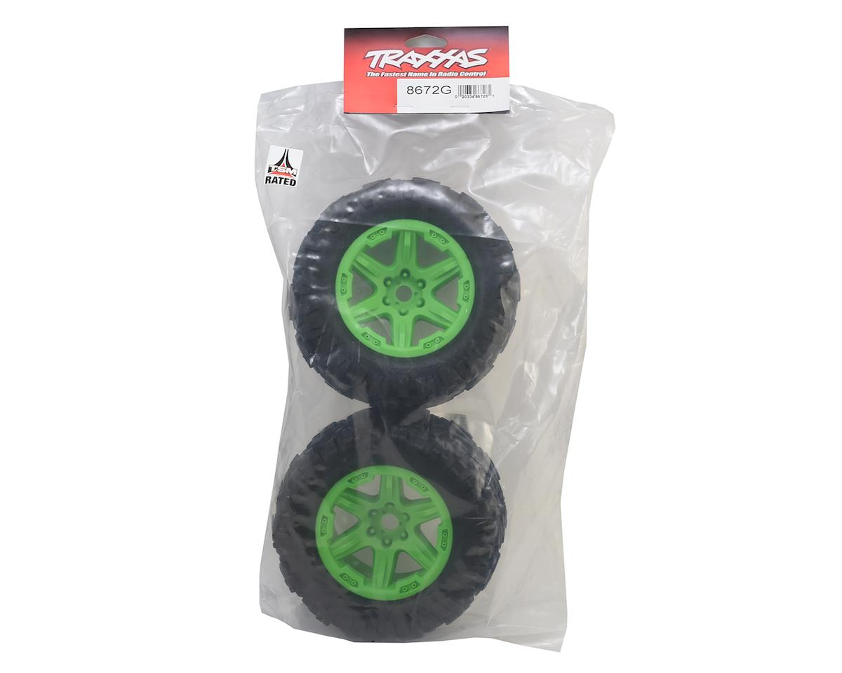 "Talon EXT Tires 3.8"" Pre-Mounted Monster Truck Tires (2) (Green) by Traxxas"