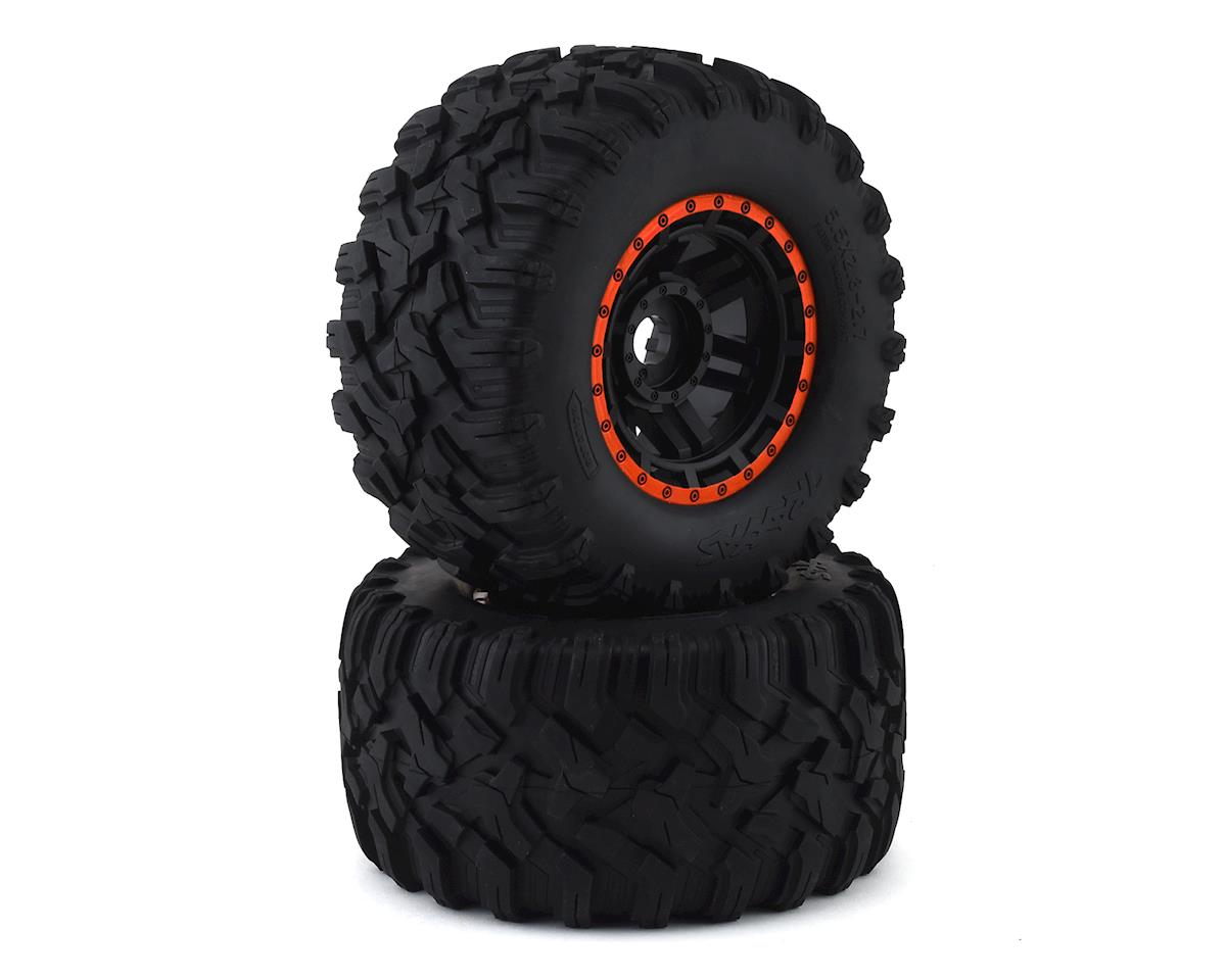 Traxxas Maxx All-Terrain Pre-Mounted Tires (2) (Black/Orange)