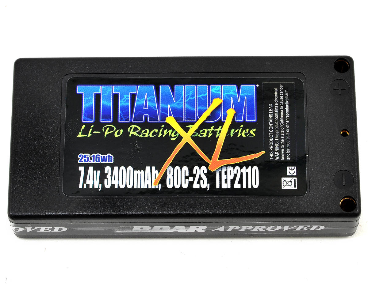 Titanium XL Shorty 2S 80C Hardcase LiPo Battery (7.4V/3400mAh) by Team Trinity