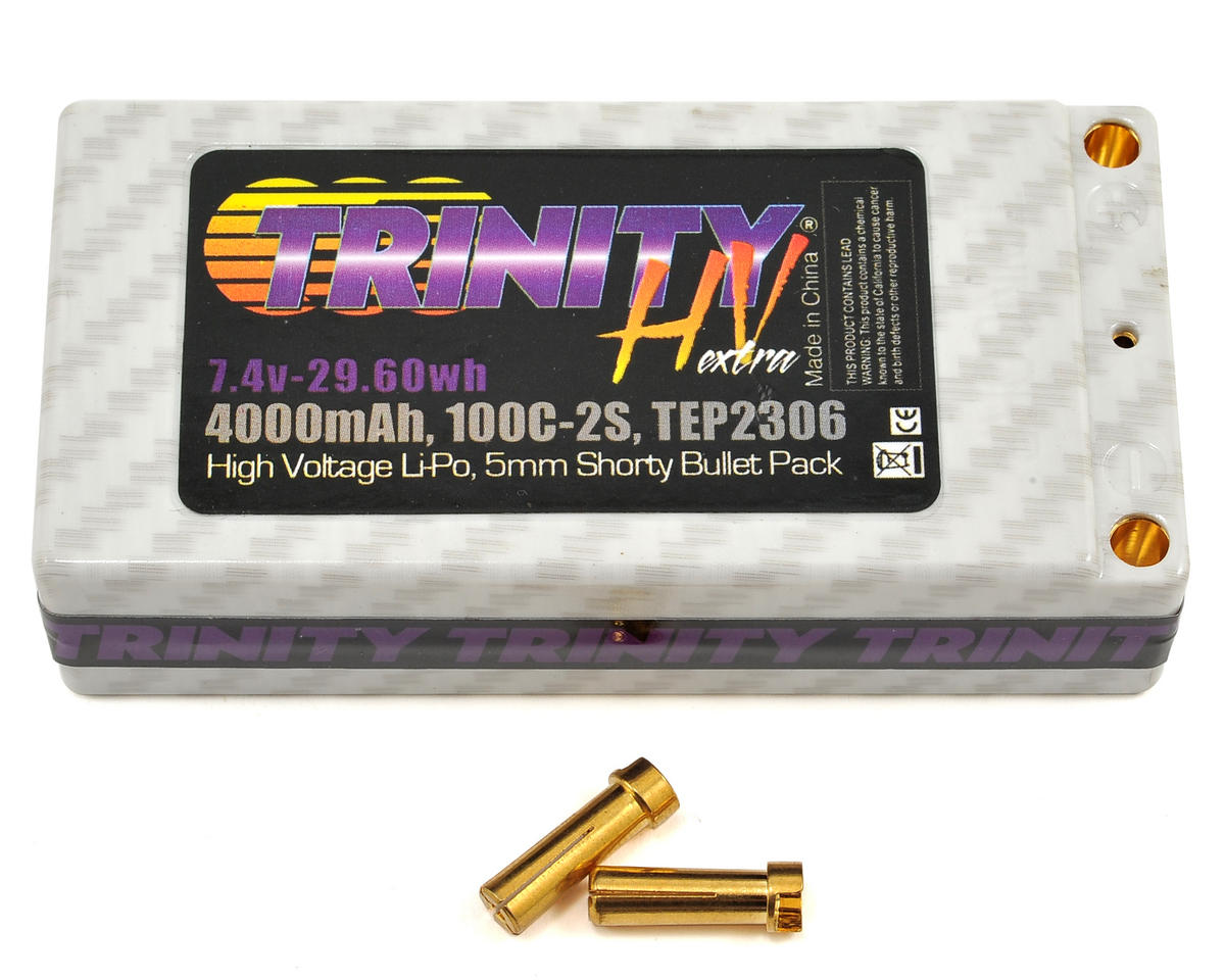 Hi-Voltage Shorty 2S 100C Hardcase LiPo Battery (7.4V/4000mAh) by Team Trinity