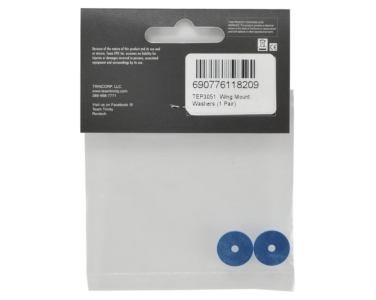 Team Trinity 1/10th Wing Mount Washers (Blue) (2)