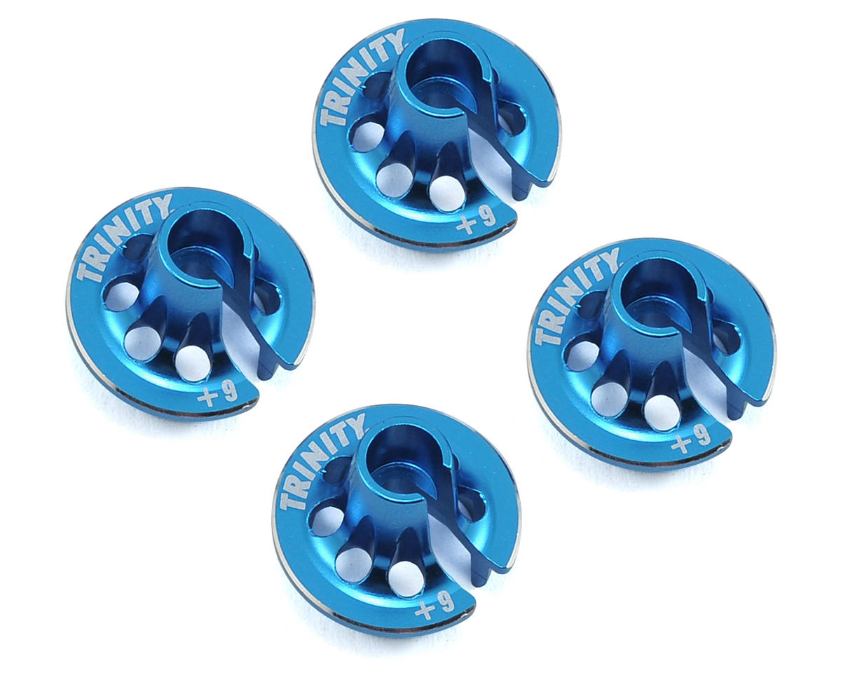 Team Trinity Associated Aluminum +9 Spring Cup Set (Blue) (4)