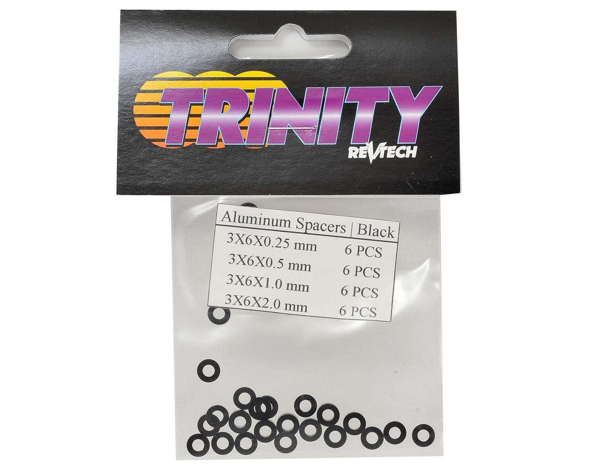 Team Trinity 3mm Aluminum Ball Stud Shims (Black) (24)