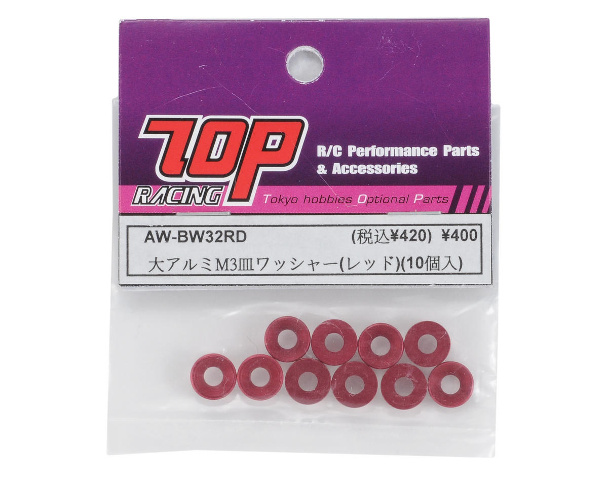 T.O.P Racing Products Large 3mm Bevel Washer (Red) (10)