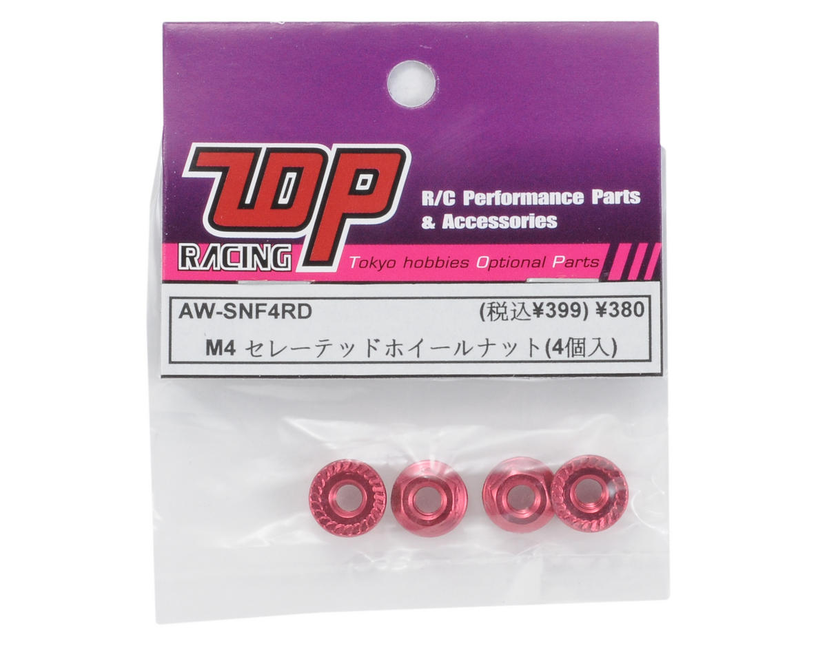 T.O.P Racing Products 4mm Aluminum Serrated Wheel Nut (Red) (4)
