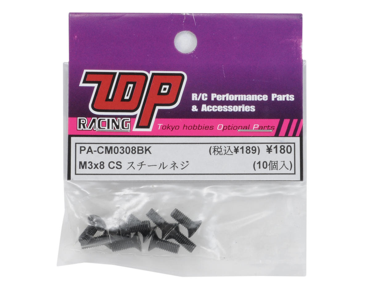 T.O.P Racing Products 3x8mm Flat Head Screw (10)