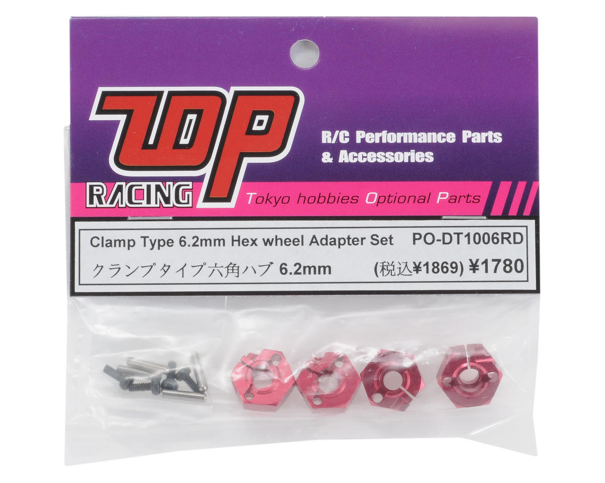 T.O.P Racing Products 6.2mm Clamp Type Hex Wheel Adapter Set (Red) (4)