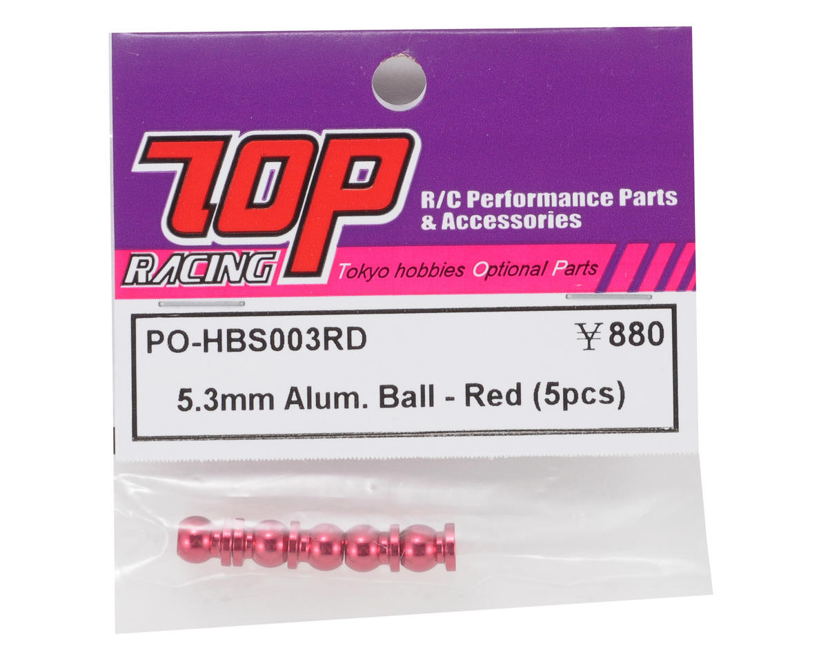 T.O.P Racing Products 5.3mm Aluminum Pivot Ball Set (Red) (5)