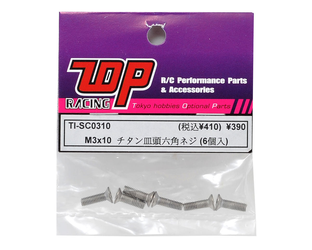 T.O.P Racing Products 3x10mm Titanium Flat Head Hex Screw (6)